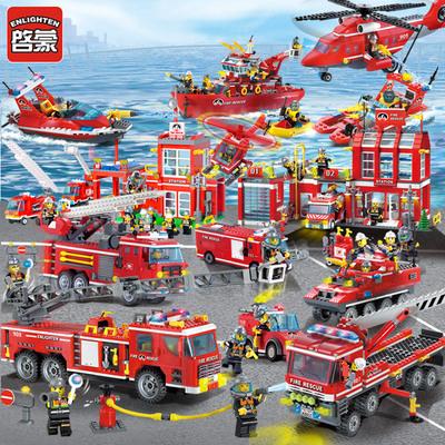 启蒙消防车总局警察积木拼装小孩玩具益智儿童4男孩6礼物8岁樂高
