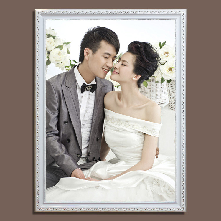 新款30寸36寸40寸婚纱照放大欧式实木婚纱相框影楼相框油画框制作图片