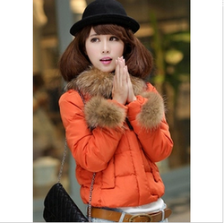 Luxury raccoon fur collar coat short jacket style