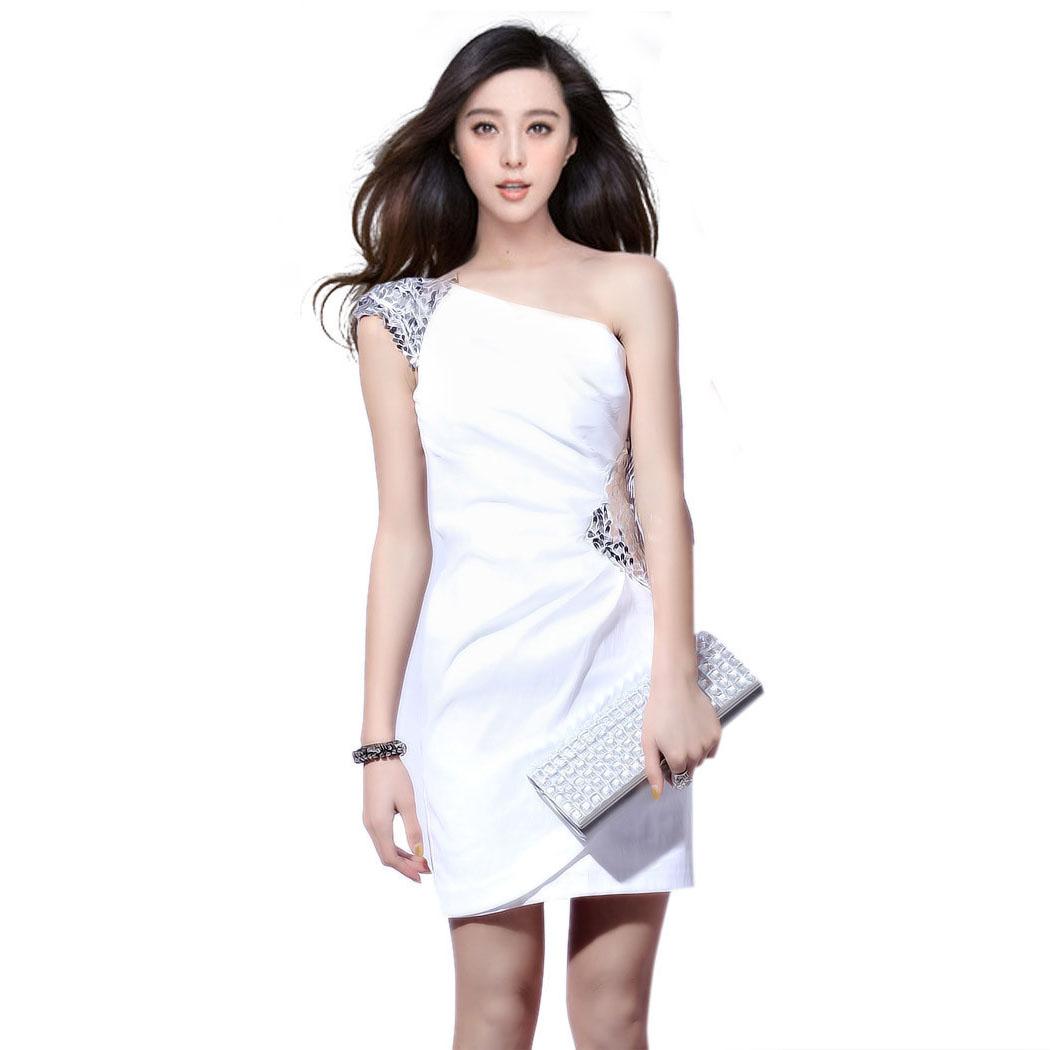 范冰冰同款时尚 白色伴娘礼服 新娘红色敬酒服姐妹裙韩版礼服