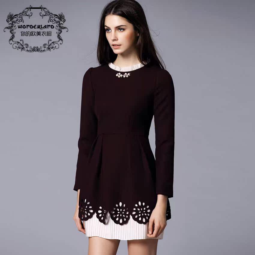 Женское платье Европе осень/зима 2013 элитного качества Ретро Палас конце осень/зима длинным рукавом платье юбка стиль