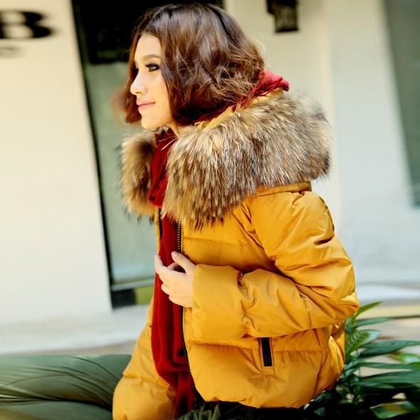 Женский пуховик Новая Корейская версия плюс размер дамы большого енот мех воротник Фокс меха короткие простые водонепроницаемый теплых вниз куртка женщин