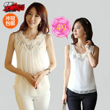2013 Korean summer new women's large size lace chiffon halter camisole female backing loose