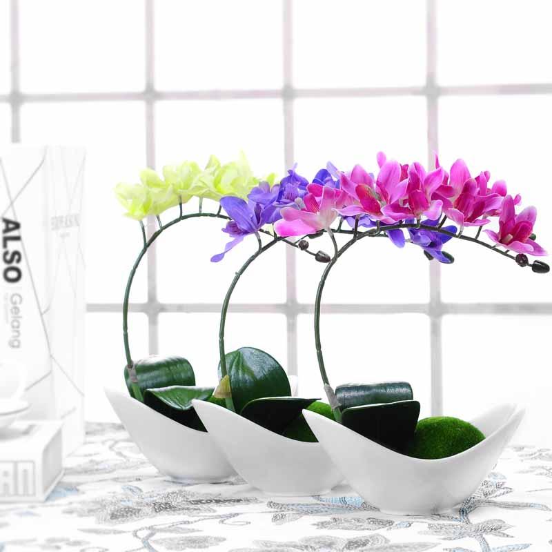 特价包邮 蝴蝶兰盆栽家居餐桌茶几摆件 欧式田园高整体花艺仿真花