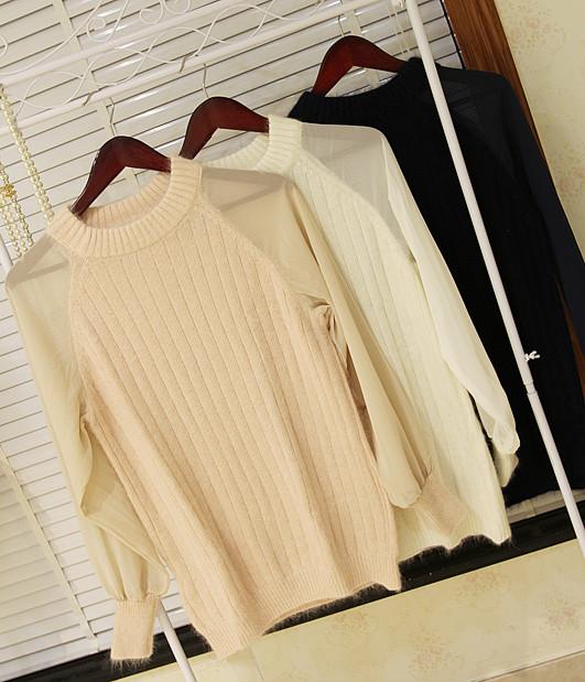 Женское платье Аутентичные Гонконг покупки vivi10 snidel точки зрения сплайсинга шифон рукав вязать платье свитер