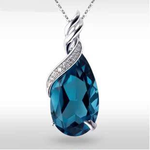 925纯银蓝宝石水晶项链