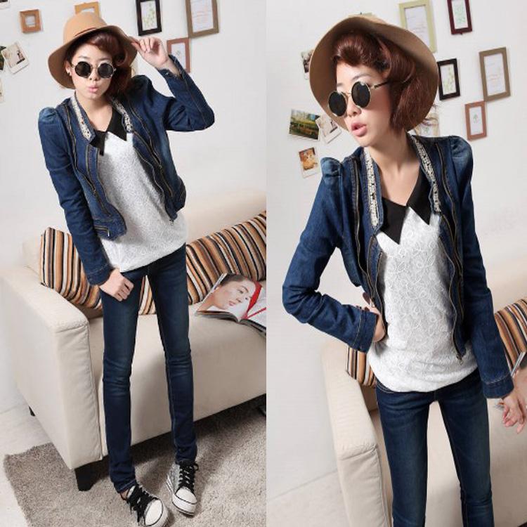 Короткая куртка 6090 осінь Корейский воротник длинный рукав молнию украшения джинсы стрейч обрезается куртка джинсовая