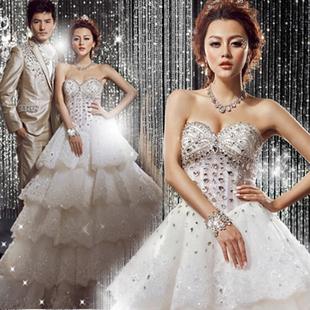 韩式公主新娘钻石婚纱礼服韩版新款2013春季结婚酒店孕妇可穿7511
