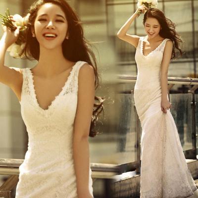 性感深V 韩式收腰修身鱼尾新娘婚纱礼服 2013苏州最新款 8108