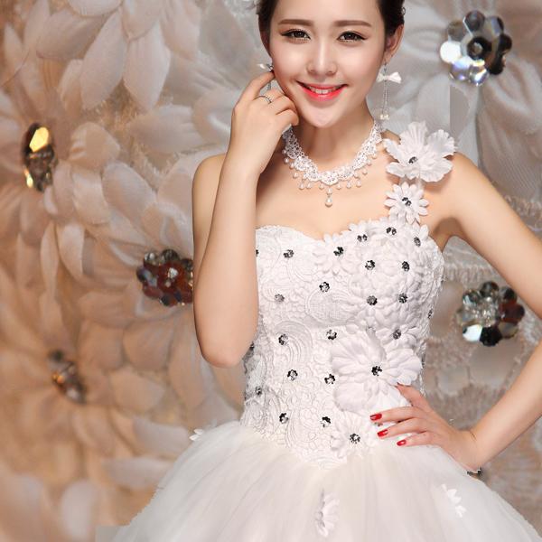 天使的嫁衣韩版公主新娘单肩婚纱礼服2013新款有大码孕妇定制8557