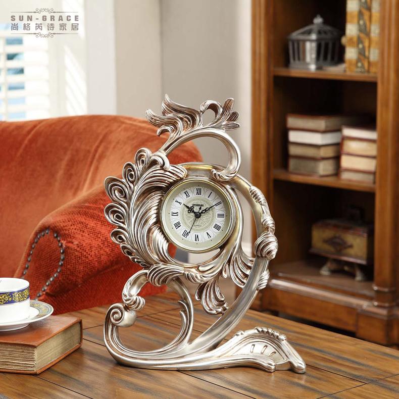 尚格芮诗 欧式时钟摆件 美式创意客厅书房卧室家居饰品摆设