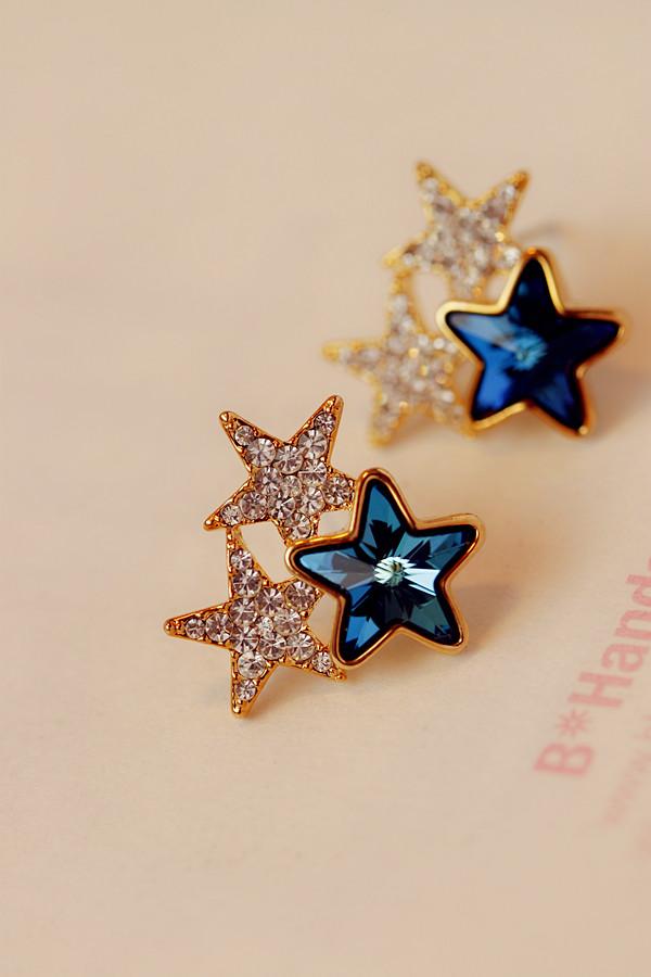【韩国正品】宝蓝色水晶宝石镶钻三颗星星满钻耳钉耳环饰品配饰