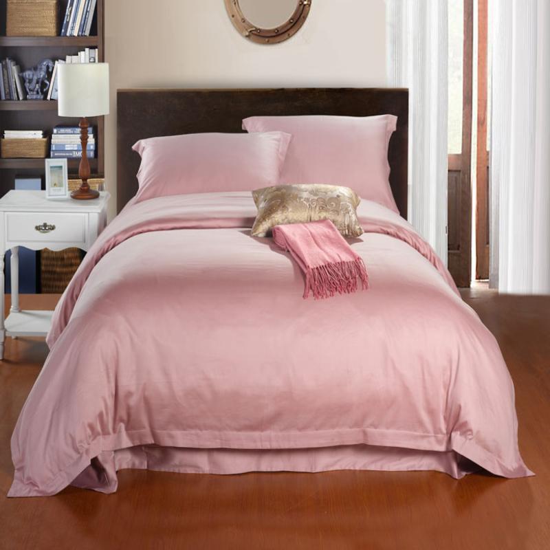 婚庆纯色欧式家纺 结婚季床上用品全棉长绒棉纯棉贡缎床单四件套特价包邮