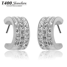 T400 Genuine Austrian crystal earrings earrings female Korean decorative jewelry gift Crescent Bay