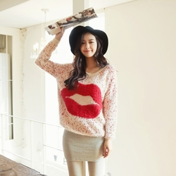 Seahorse plush pullover Korean style big size knitting sweater coat lips