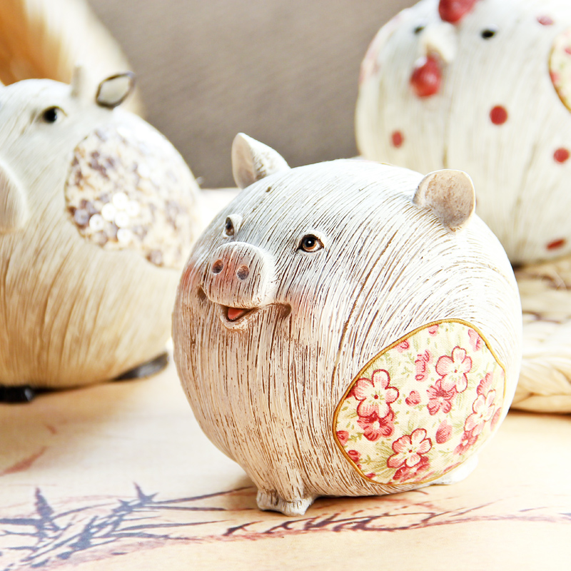 宠物猪猫鸡仿木欧式田园创意家居装饰品电视酒柜玄关新房书桌摆件