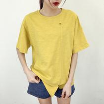 2017夏装新款短袖T恤韩版宽松圆领纯色拼接开叉上衣时尚百搭女装