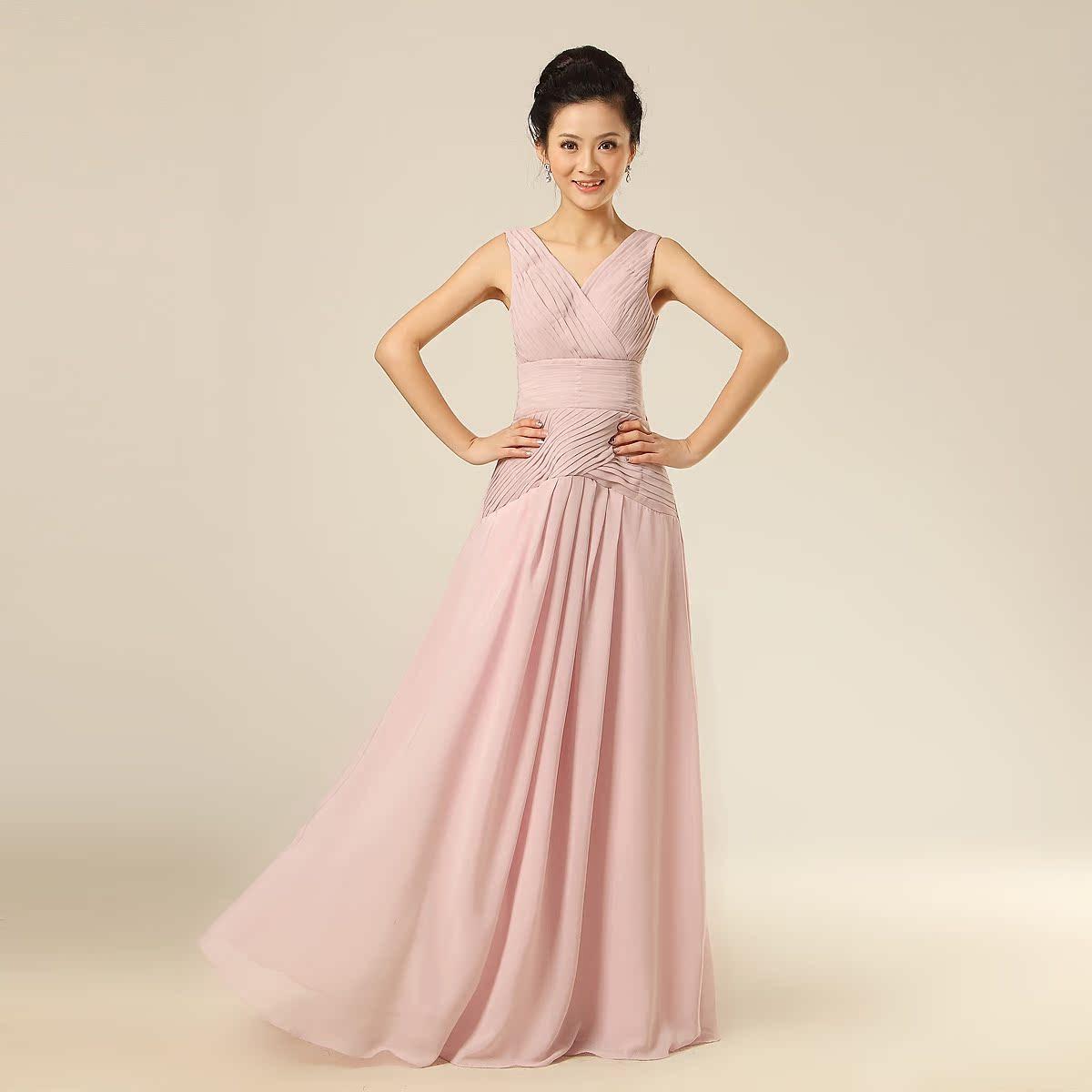婚纱礼服 新款2013韩版双肩新娘结婚敬酒服 伴娘演出长款晚礼服裙