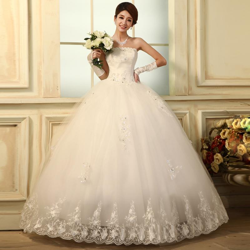 结婚纱礼服2013最新款韩版原创抹胸齐地公主绑带款蝴蝶新娘H6281
