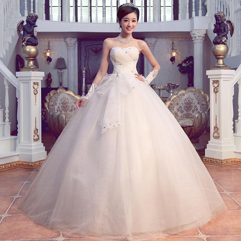 韩式婚纱礼服韩版抹胸甜美公主v领蝴蝶结婚纱6231