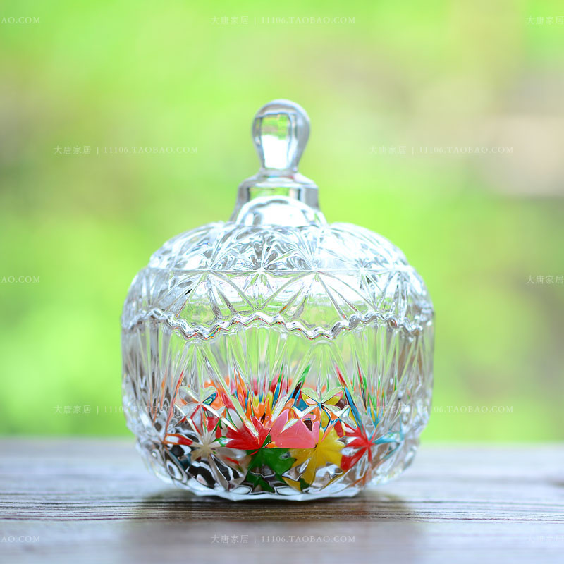 欧式水晶创意糖果罐小号 居家用品婚房客厅茶几装饰器皿 透明玻璃