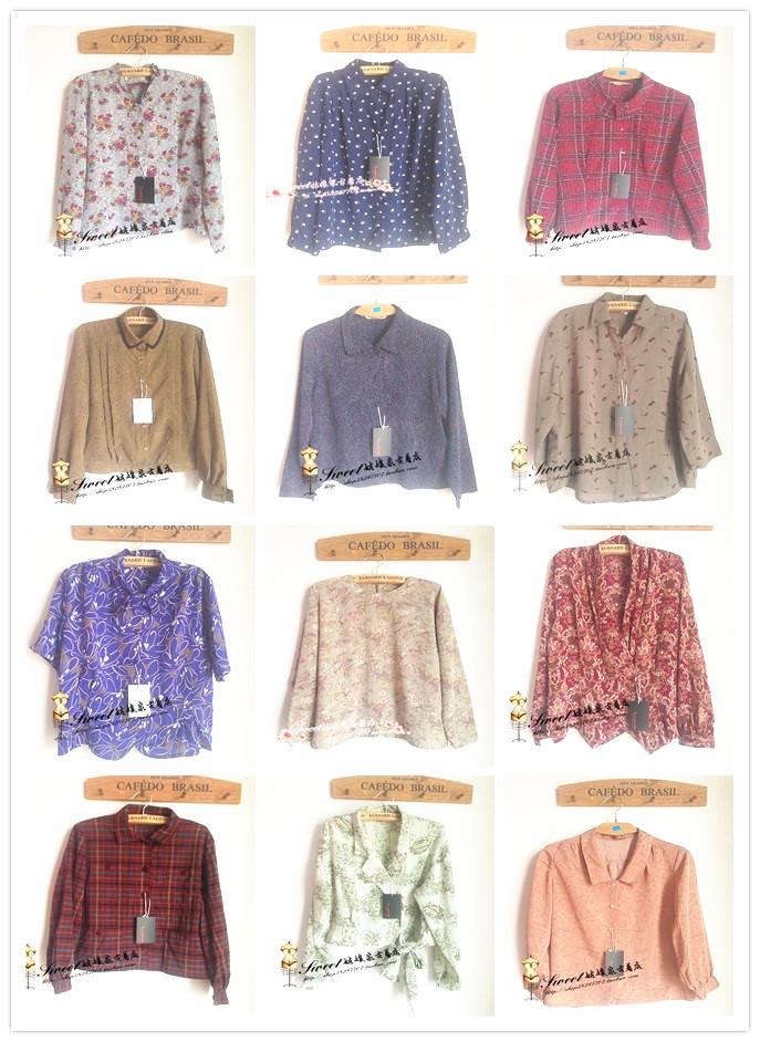 женская рубашка Винтажные ретро рубашки/блузки оптом женский японский Сен цветочные поп осенью длинным рукавом