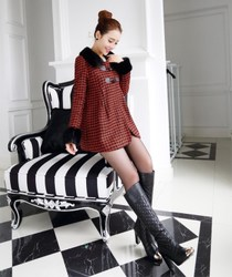Korean style woolen cape coat fur collar wool coat