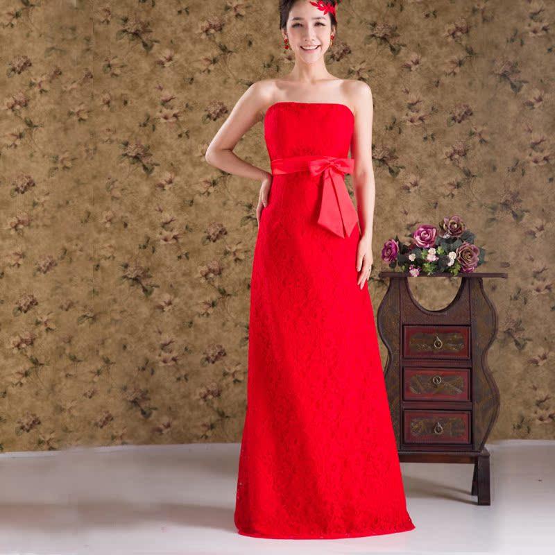 新娘结婚礼服 红色蕾丝长款抹胸敬酒服 伴娘婚纱晚宴礼服新款2013