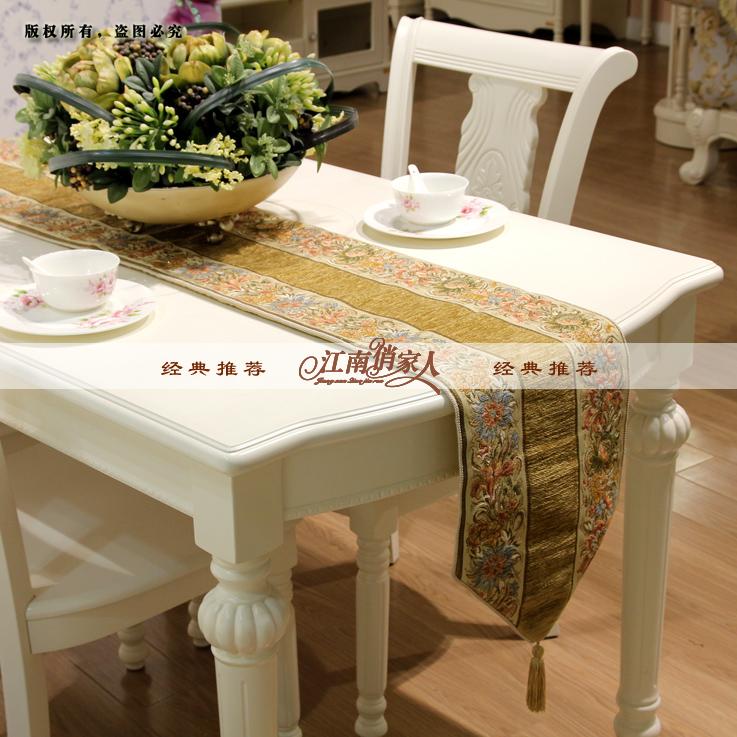 包邮 欧式奢华新古典金丝绣花桌旗桌布餐桌布茶几布桌垫时尚礼品