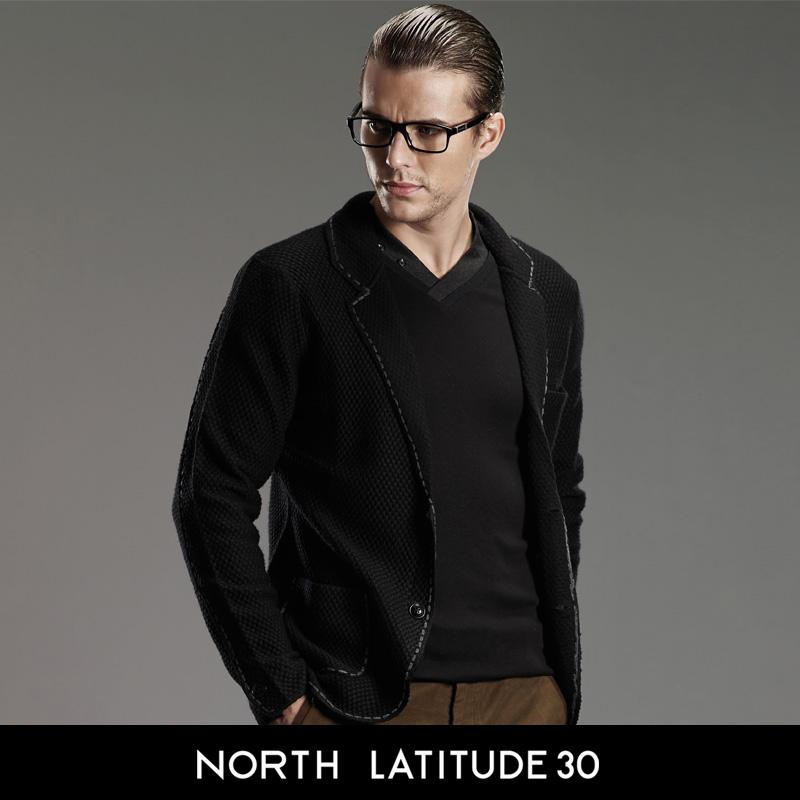 北纬30度 冬装男士高档开衫 修身毛衣男 时尚翻领男装