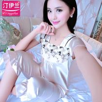 2017丝绸睡衣女士夏春秋薄款短袖套装夏季短裤蕾丝性感可爱家居服