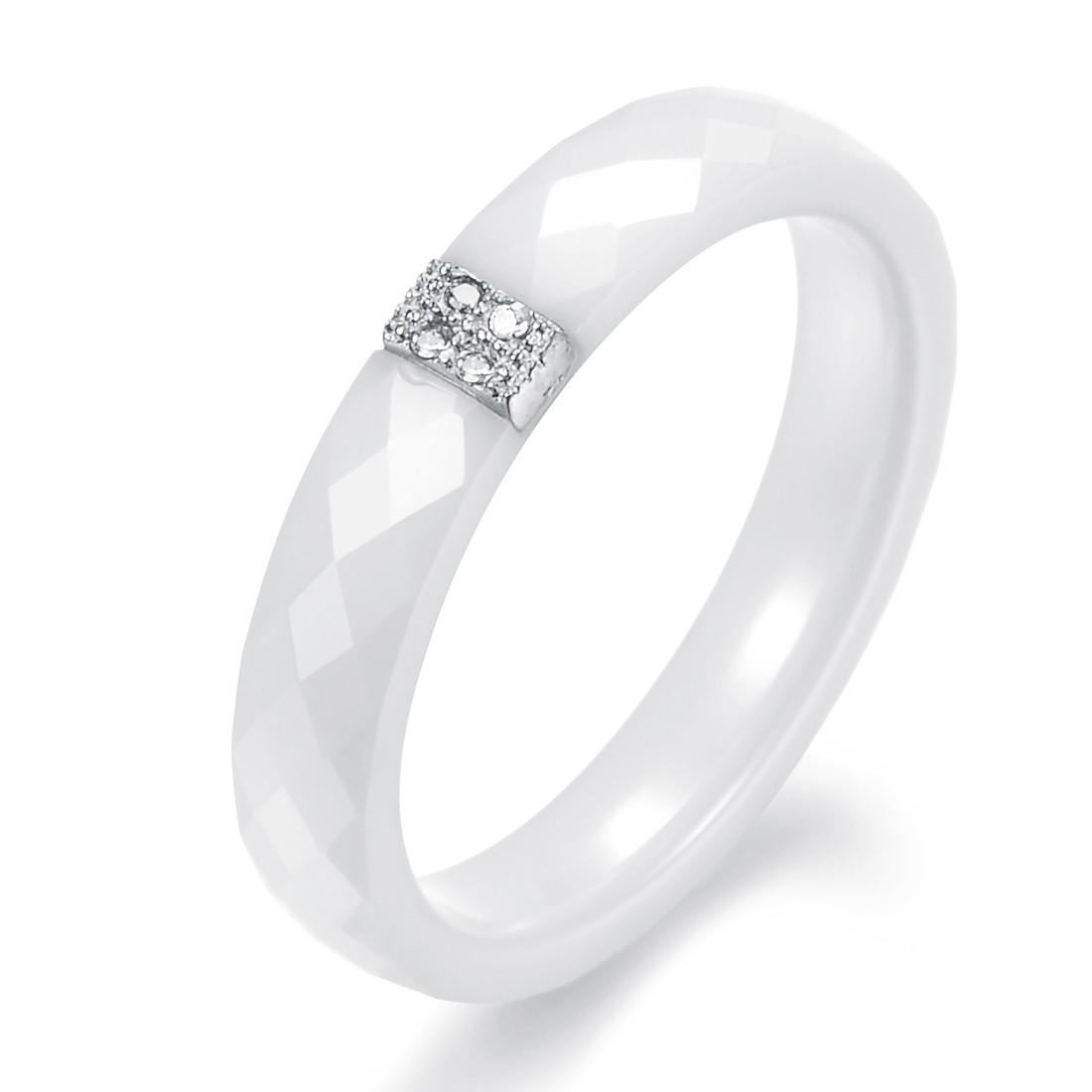 韩国时尚饰品批发结婚季 厂价直销 新款 纯银镀铂金 白色陶瓷戒指N238