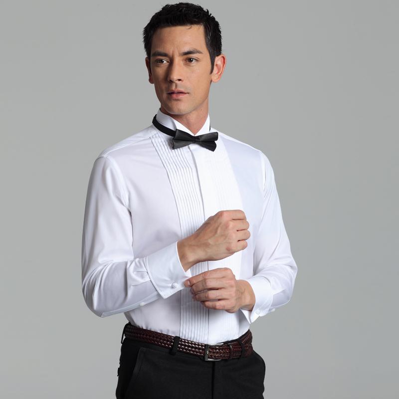 法式衬衫衬衣燕子领男士新郎结婚礼服送领结长袖衬衫蓝河专柜正品