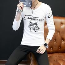 2017新款男士长袖T恤V领春季薄款青年小衫纯棉体恤潮流男装上衣服
