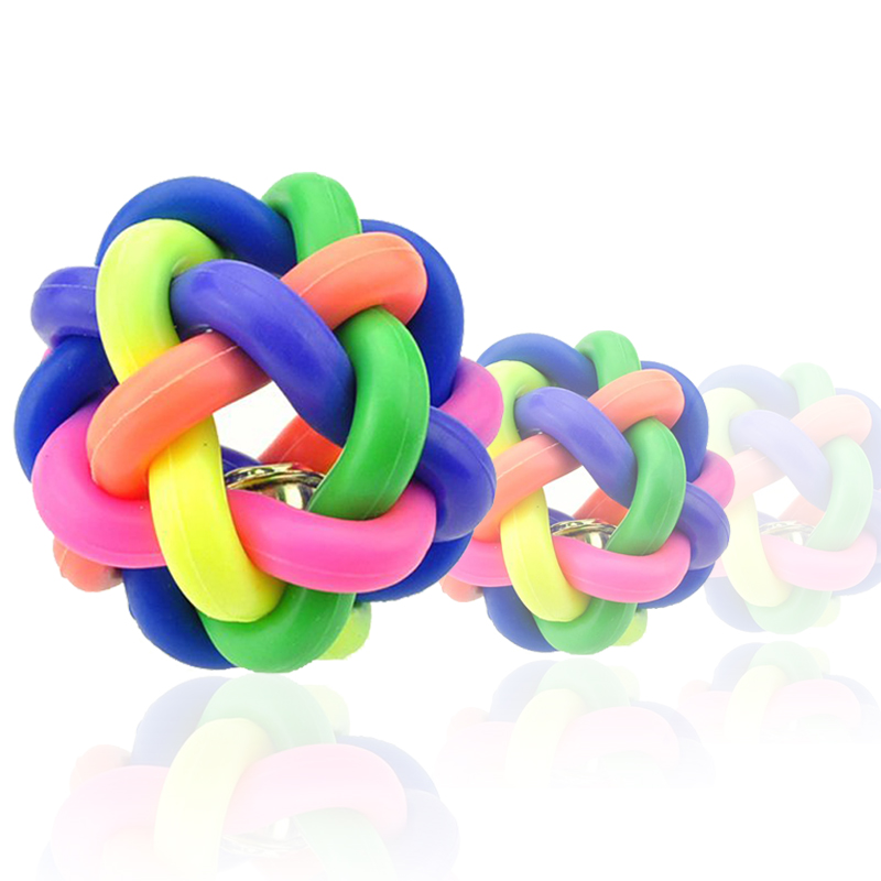 Dog toy pet rubber ball the more colorful, small, bite balls, dog ball bells bounce ball specials
