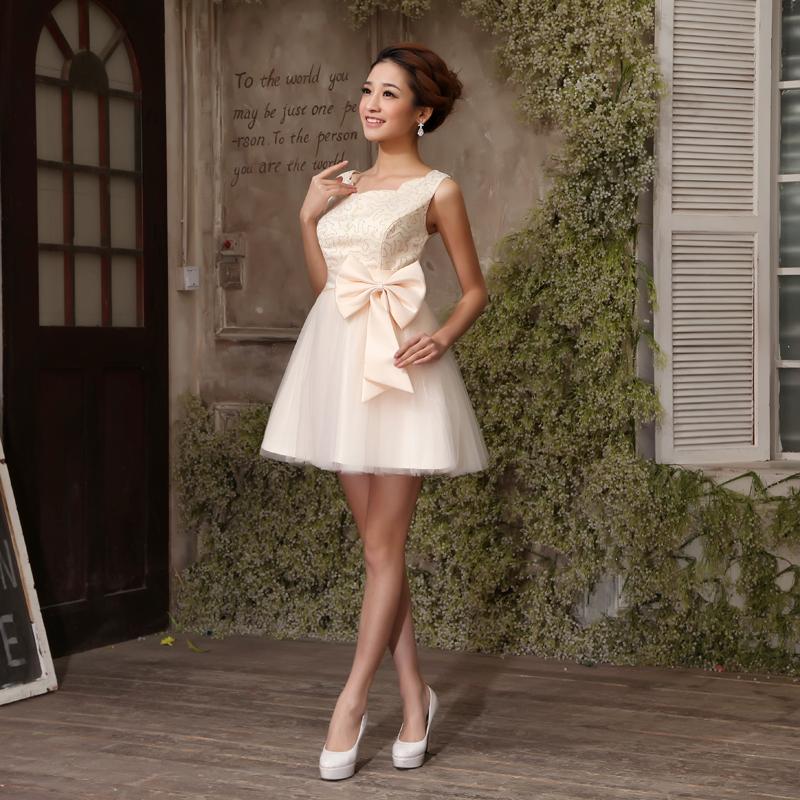 2013最新款 新娘婚纱 伴娘 礼服 敬酒服 双肩小礼服短款