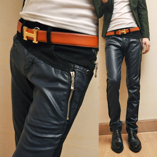 Men's leather pants 2012 foot tide men skinny slim Korean men's pants black Cowboys to spell leather pants