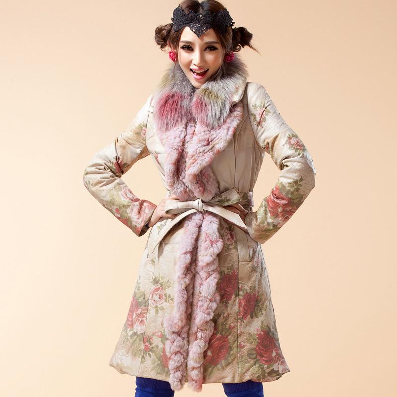 冬装新款彩绘印花工艺皮衣进口绵羊皮羽绒服外套