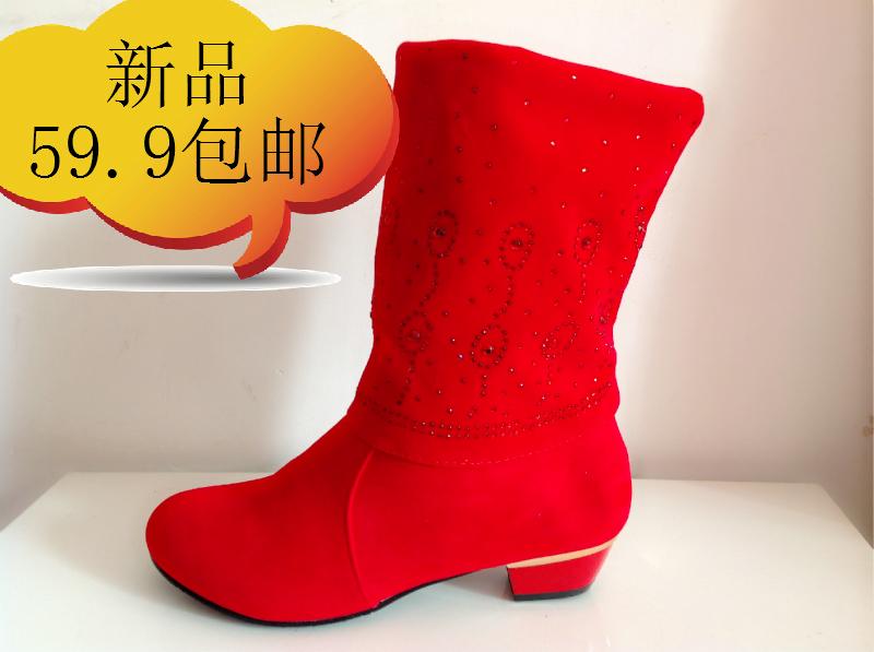 包邮13冬季新款棉靴红色靴子低跟靴子新娘结鞋敬酒棉鞋批发大码42