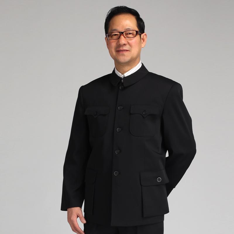 昊吉 春秋新款中老年男装中山装套装爸爸装 老年人男士中山服外套