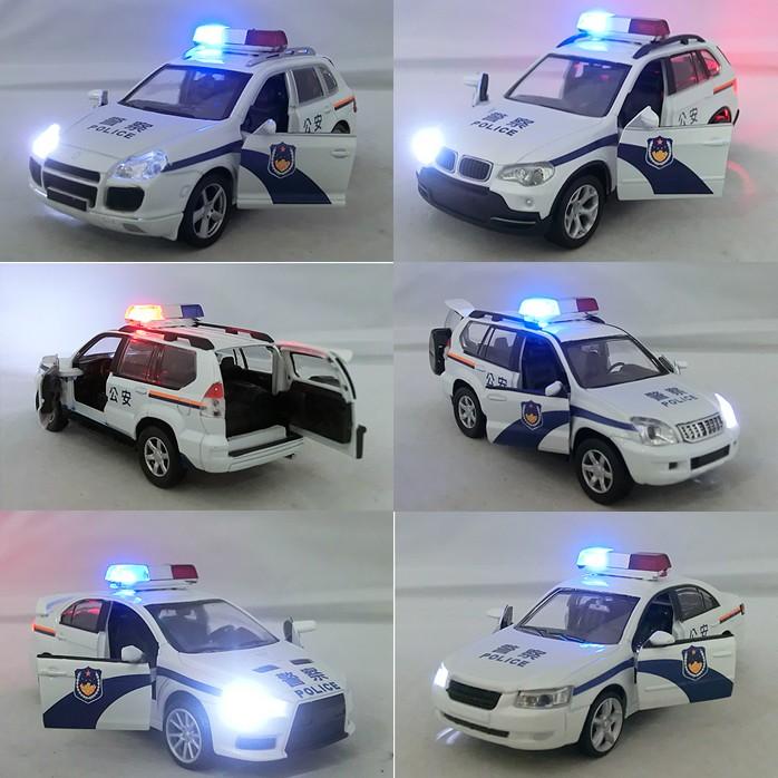 Модель машины 4款包邮 合金族警车110系列合金汽车模型1:32 110警车声光回力车