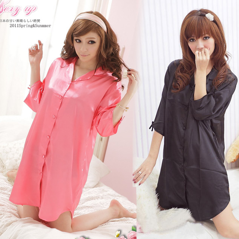 Temptation 包邮 satin short sleeve shirt-ladies summer sexy nighty home wear plus size boyfriend love