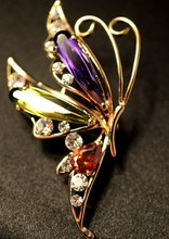 South Korea imported refined contrast color alloy zircon diamond butterfly brooch