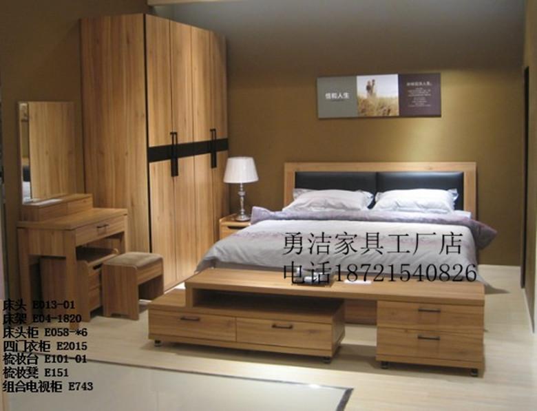 Двуспальная кровать Три сумки Шанхай дома борту люкс мебель спальня люкс мебель, шкаф