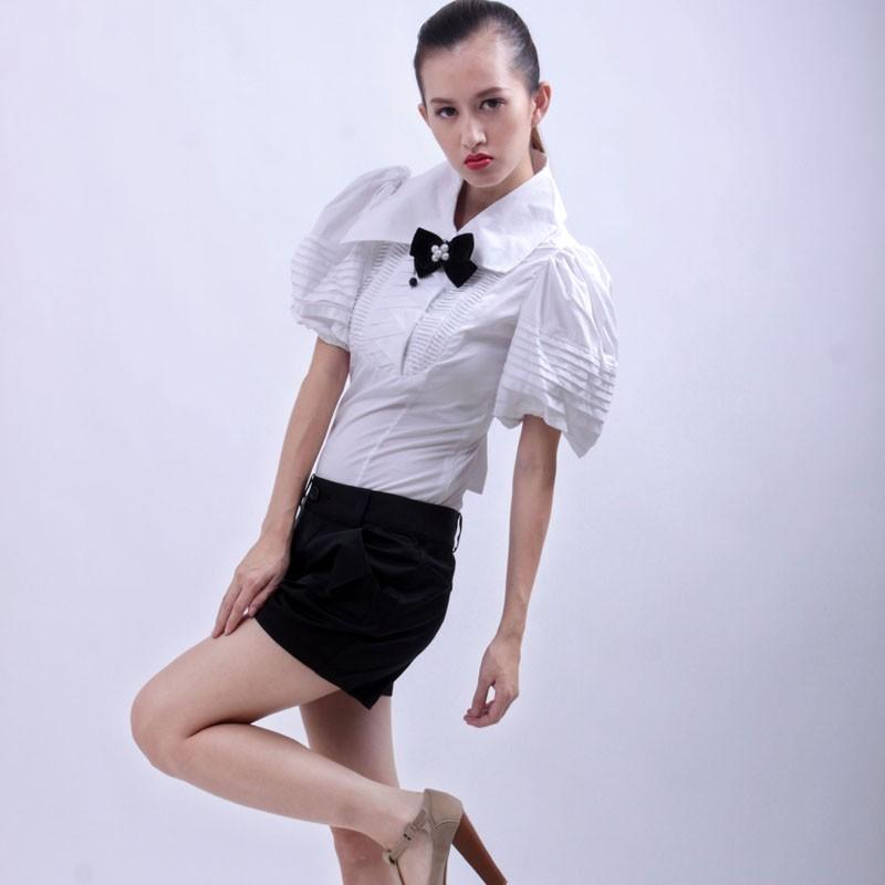 женская рубашка yc005 Другой стиль Короткий рукав Однотонный цвет 2013 года Бантик бабочкой, Складки