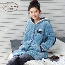 珊瑚绒夹棉睡衣女冬季三层加厚长款韩版法兰绒家居服连帽保暖套装