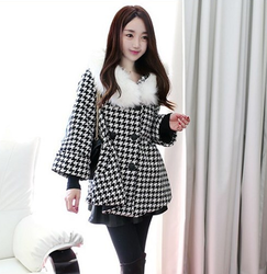 korean style long sleeve hooded jacket fur collar loose big size