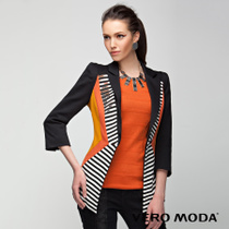 50% off shipping VM autumn ladies gun collar mixed colors Slim Sleeve Stripe Suit V | 313108018