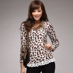 korean style plush pullover V-neck leopard print fur collar Slim