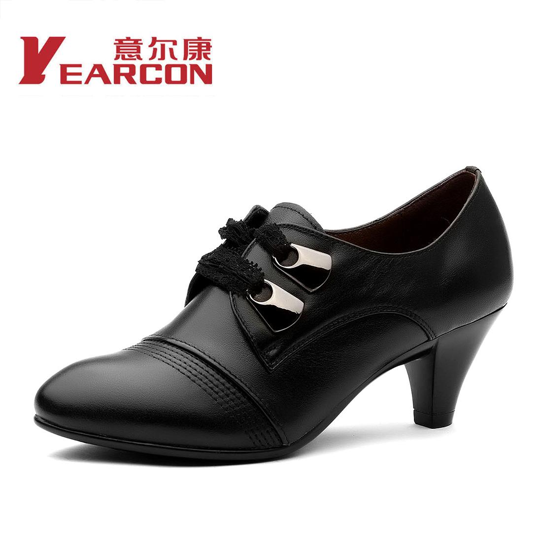 意尔康女鞋正品新款高跟蕾丝系带舒适真皮鞋通勤女单鞋28ze29601y